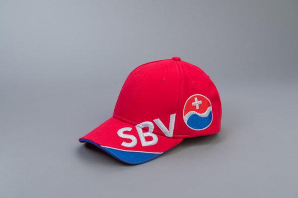 SBV Cap rot/blau mit Logo Seite